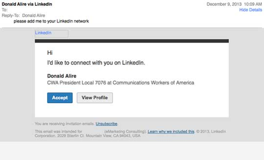 Donald Alire Wants to Connect on LinkedIn